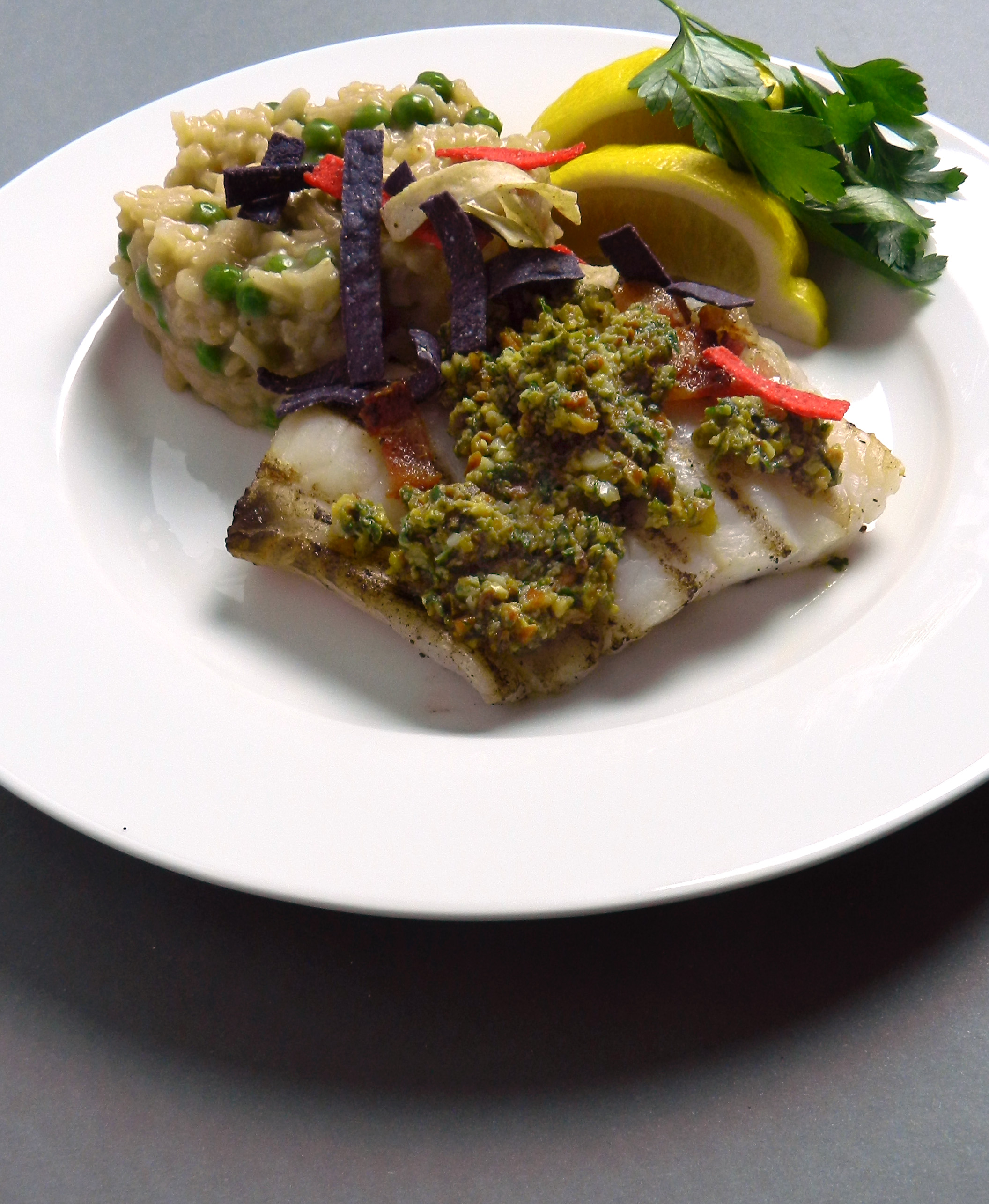 Grilled Grouper with Roasted Pistachio Lime Pesto - Discovery Cooking